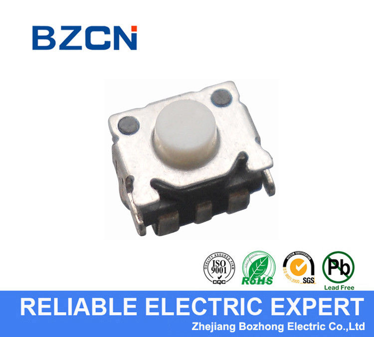 Side Press Silent Tactile Switch / Surface Mount Switch With Black Button