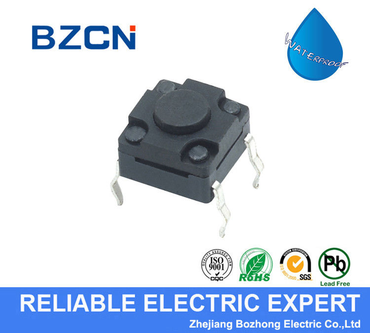 DIP Terminal Type Waterproof Tactile Switch Plastic Black Button 50mA Rating