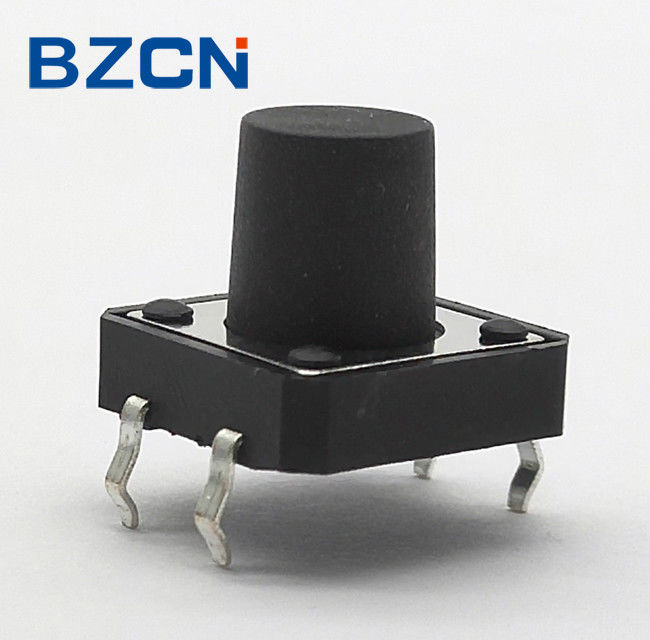 Black 12mm Tactile Switch , 4 Pin Momentary Switch With Stable Operation